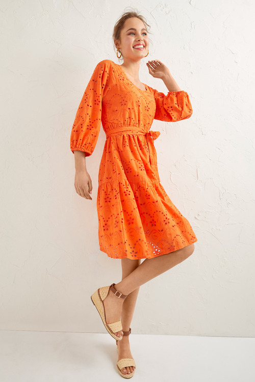 Emerge Broderie Square Neck Dress