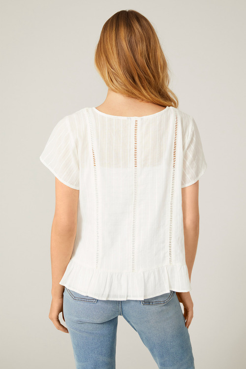 Emerge Textured Lace Insert Shirt