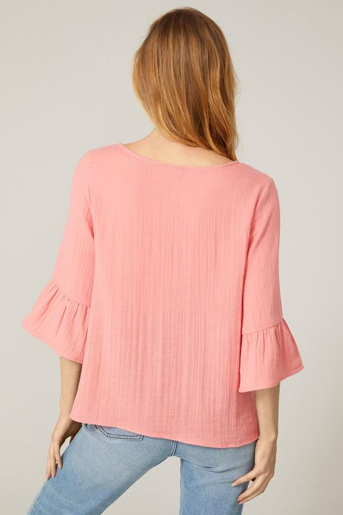 Emerge Cotton Ruffle Sleeve Top
