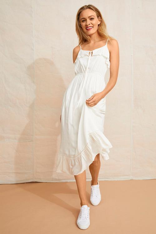 Emerge Dobby Frill Detail Midi Dress
