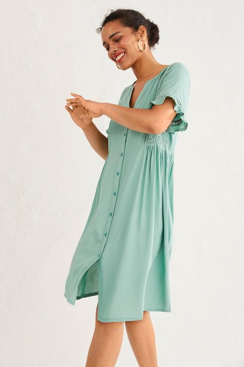 Emerge Lace Insert Shirt Dress