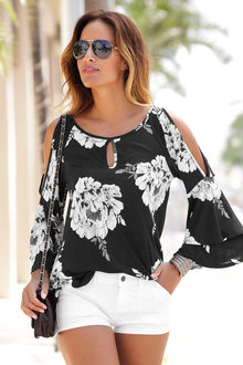 Urban Printed Cold Shoulder Top