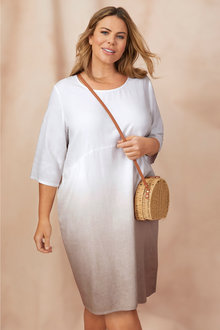 Plus Size - Sara Linen Ombre Dress - 249858