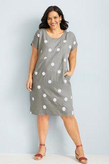 Plus Size - Sara Linen Angled Pocket Dress - 249862
