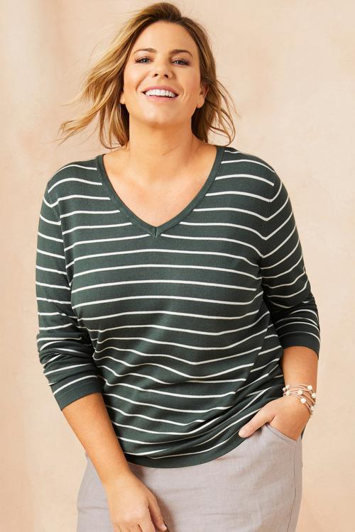 Plus Size - Sara Stripe Sweater