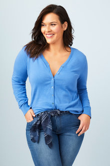 Plus Size - Sara Button Through Cardigan