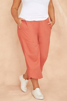 Plus Size - Sara Linen Hem Detail Crop - 249875