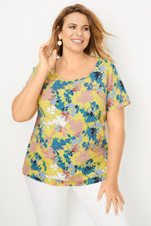 Plus Size - Sara Round Neck Tee - 249876