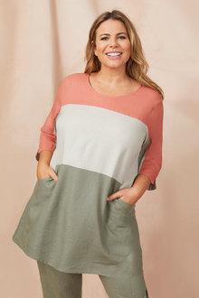Plus Size - Sara Colourblock Tunic - 249877