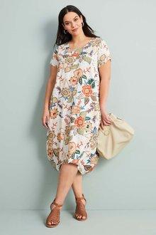 Sara Linen Blend Panel Dress - 249897