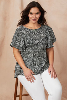 Plus Size - Sara Flute Sleeve Top
