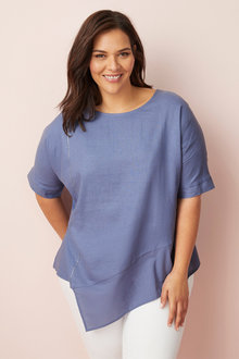 Plus Size - Sara Linen Contrast Top - 249946