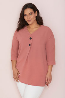 Plus Size - Sara Button Placket Top - 249954