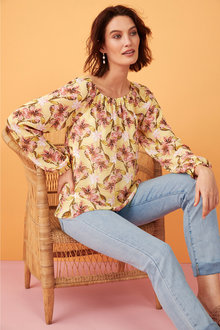 Capture Gather Neck Chiffon Blouse - 249969