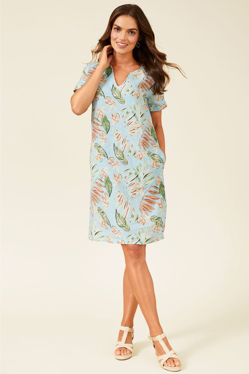 Capture Linen Notch Neck Shift Dress
