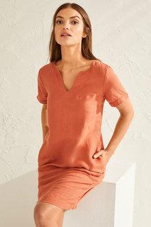 Capture Linen Notch Neck Shift Dress - 250069