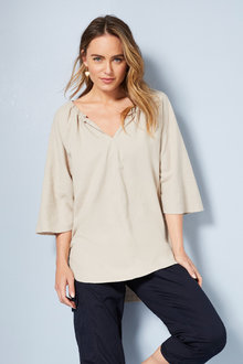 Capture Linen Blend Gather Neck Top - 250075