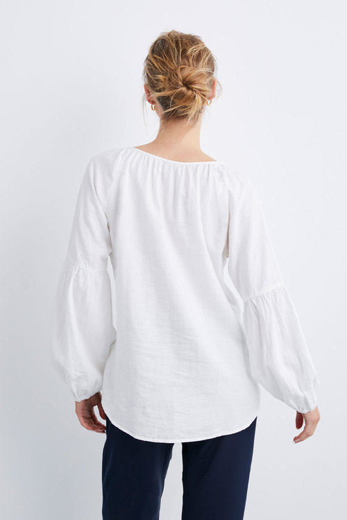 Capture Linen Blend Embroidered Boho Top