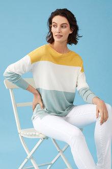 Capture Stripe Longline Sweater - 250122