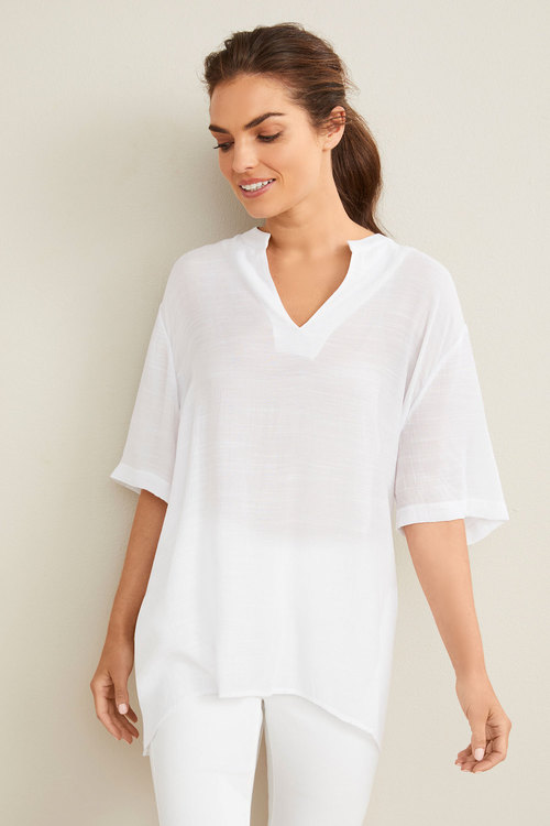 Capture Textured Split Neck Top