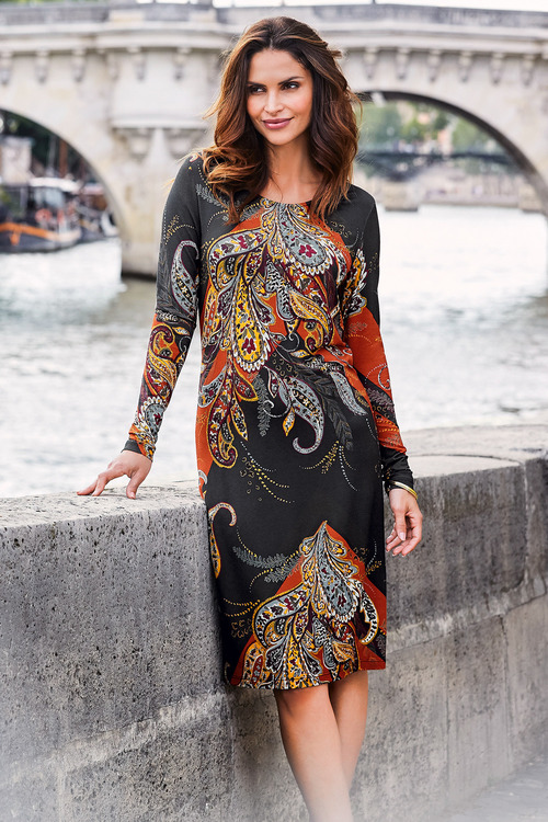 Kaleidoscope Paisley Print Dress