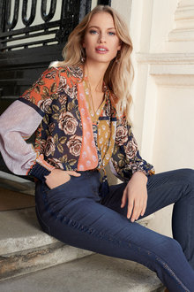 European Collection Tassel Trim Patch Print Shirt - 250257