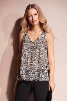 European Collection Animal Print Layer Top