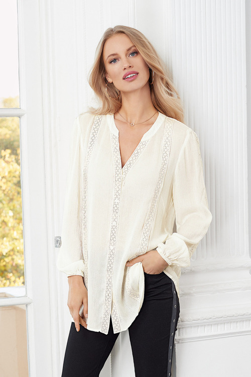 European Collection Lace Trim Crinkle Shirt