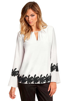 Euro Edit Floral Detail Top - 250282