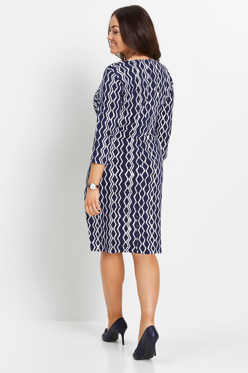 Euro Edit Chevron Print Dress