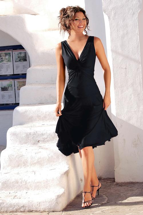 Euro Edit V Neck Midi Dress