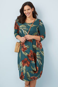 Plus Size - Sara Linen Blend Drape Dress - 250309