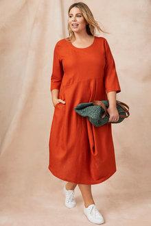 Sara Linen Blend Drape Dress - 250309