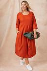 Plus Size - Sara Linen Blend Drape Dress