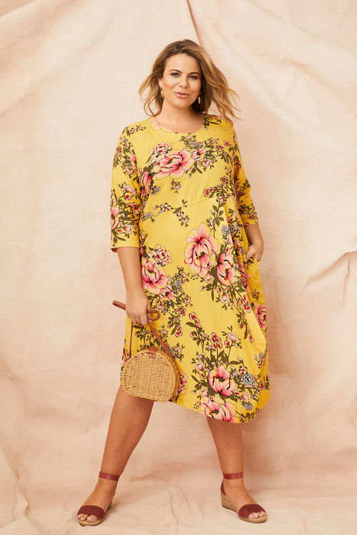 Sara Linen Blend Drape Dress