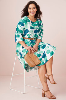 Plus Size - Sara Linen Cocoon Drape  Dress - 250310