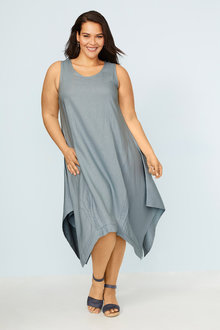 Plus Size - Sara Angled Hem Linen Dress - 250312