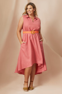 Plus Size - Sara Sleeveless Linen Shirt dress - 250313