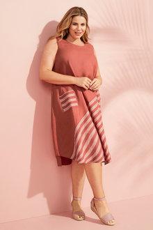 Sara Linen Panel Stripe Dress - 250314