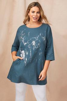 Plus Size - Sara Linen Print Tunic - 250328