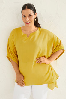 Plus Size - Sara Linen Hi Low Tunic - 250329