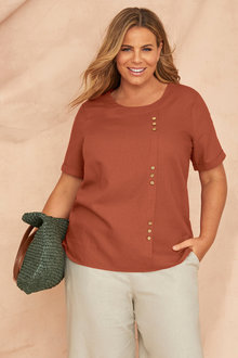 Plus Size - Sara Linen Button Top - 250330