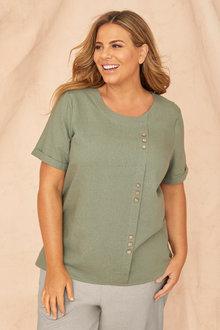 Sara Linen Button Top - 250330