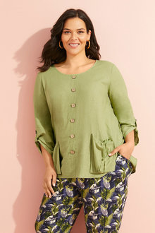 Sara Linen Pocket Tunic - 250331