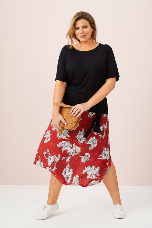 Sara Angled Hem Skirt