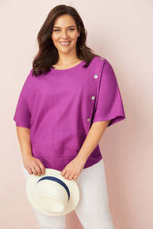 Plus Size - Sara Linen Button Top - 250336