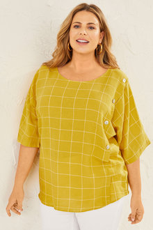 Sara Linen Button Top - 250336