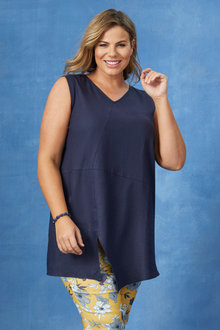 Plus Size - Sara Sleeveless Linen Tunic - 250337