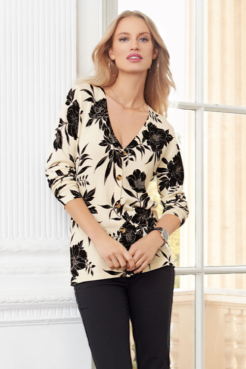 European Collection Floral Printed Cardigan