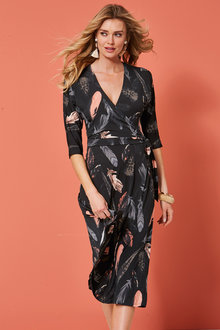 Kaleidoscope Feather Print Wrap Dress - 250510